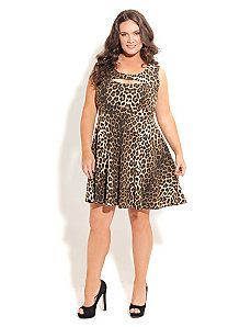 23032f5406b75 Animal Skater Dress by City Chic Funky Fashion