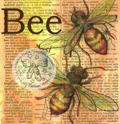 Bee Mixed Media Drawing on Distressed Dictionary Page