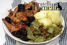 #Rabbit with #beer and #plums served with snow #peas and boiled #potatoes, a traditional recipe from #Aosta Valley - Fratelli ai Fornelli