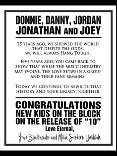 """New Kids On The Block Fans Say """"Thank You"""" ....love this!"""