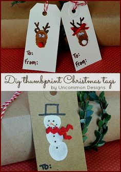 Diy Reindeer and Snowman Thumbprint Christmas Tags tutorial. Kids Christmas Crafting at it's best! Preschool Christmas, Noel Christmas, Christmas Gift Tags, Christmas Crafts For Kids, Christmas Themes, Holiday Crafts, Holiday Fun, Christmas Ornaments, Diy Weihnachten