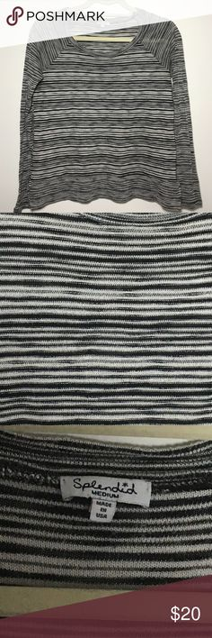 Splendid long sleeve striped shirt EUC. Long sleeve shirt with black and gray stripes from Splendid. Material has a pill/slight texture. 🌸 automatically save 20% when you bundle two or more items or make an offer! 🌸 Splendid Tops