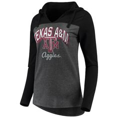 9e24ae20b Women's Charcoal Texas A&M Aggies Knockout Color Block Hooded Long Sleeve  V-Neck T-Shirt