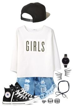 """GIRLS"" by galaxygirl12427 ❤ liked on Polyvore featuring MANGO, Converse, Brixton, Olivia Burton and LULUS"