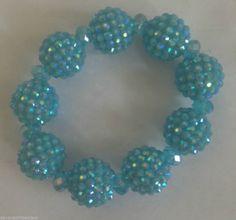 "Blue Beaded Bracelet Stretch Disco Design Retro Style  Fits 5-7"" Ladies Wrist  #Handmade #BeadedStrand"