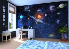 solar system wall decor | Solar System - Wall mural, Wallpaper, Photowall, Home decor, Fototapet ...