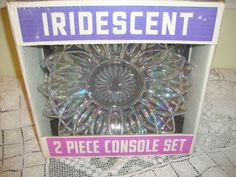 Federal Petal Iridescent 2 Piece Console Set Glass Company, Glass Kitchen, Carnival Glass, Vintage Kitchen, Iridescent, Console, Plates, Packaging, Amp