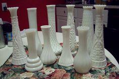 White Milk Glass bud vases, Vintage set of wedding centerpiece vases, grouping of 10, E.O. Brody Anchor Hocking Hoosier Glass, Cottage Chic by UpcycledCottageDecor on Etsy