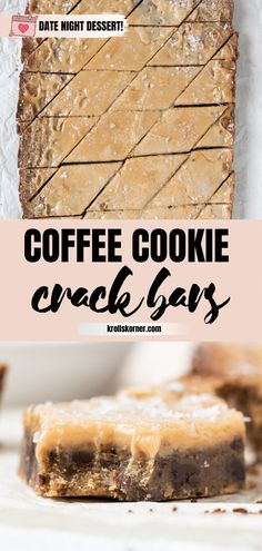 Imagine if coffee cookie bars and toffee bars had a baby.these Coffee Cookie Crack Bars would be that. Chewy, ultra-addicting and so easy! No Bake Desserts, Easy Desserts, Delicious Desserts, Dessert Recipes, Yummy Food, Bar Recipes, Health Desserts, Coffee Dessert, Kitchen