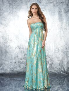 Strapless Blue and Gold Shimmer Dress