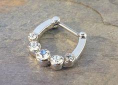 16 Gauge Sparkly Crystal Septum Ring Clicker by MidnightsMojo