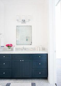 "Marble herringbone floors and Benjamin Moore ""Hale Navy"" cabinets in Modern Bathroom Design // Love the Chrome Fixtures and Marble Counters Navy Bathroom, Bathroom Spa, Bathroom Renos, Washroom, Master Bathroom, Houzz Bathroom, Lowes Bathroom, Paint Bathroom, Downstairs Bathroom"