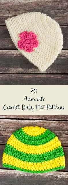 """Crochet Beanie Patterns 20 Adorable (and Free) Crochet Baby Hat Patterns - Searching for adorable free crochet baby hat patterns? These baby hat patterns are sure to make everyone go """"awwwww"""" over a baby in these hats. Crochet Baby Blanket Beginner, Crochet Baby Hat Patterns, Crochet Beanie Pattern, Crochet Cap, Crochet Baby Booties, Baby Patterns, Baby Knitting, Free Crochet, Free Knitting"""