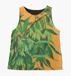 """""""""""Ash-tree"""", green & yellow, floral art"""" Contrast Tanks by clipsocallipso   Redbubble"""