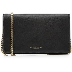 Marc Jacobs Leather Perry Wallet on Chain ($460) ❤ liked on Polyvore featuring bags, wallets, clutches, black, marc jacobs, marc jacobs crossbody, crossbody wallet, leather chain wallet and marc jacobs wallet