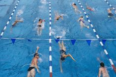 A Masters swim practice with Southern California Aquatics at Santa Monica College in California on...