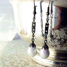 Vintage Bead Earrings Glass Teardrops Snow White by jFrancesDesign, $25.00