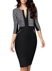 Miusol Women Formal Houndstooth-Print Optical Illusion 2/3 Sleeve Business Dress,Black X-Large