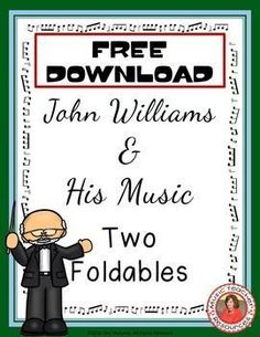 JOHN WILLIAMS & HIS MUSIC FOLDABLES    This file containsTWO different FOLDABLES in BOTH COLOR AND B/W    ♫ CLICK through to download your copy or save for later!  ♫