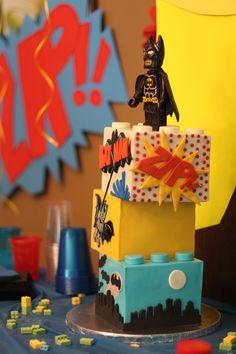 Lego Batman Cake Had a fun time making us Lego Batman cake for my son's seventh birthday. I really want to do vintage Batman. Lego Batman Cakes, Batman Cake Topper, Lego Batman Party, Superhero Birthday Cake, Novelty Birthday Cakes, Lego Birthday Party, Lego Cake, Superhero Party, Cake