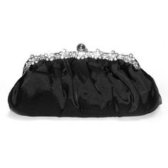 JESSICA /MD Pleated Evening Clutch with Rosette Rhinestones