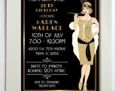 10 x Great Gatsby Personalised Birthday Evening InvitationsThank