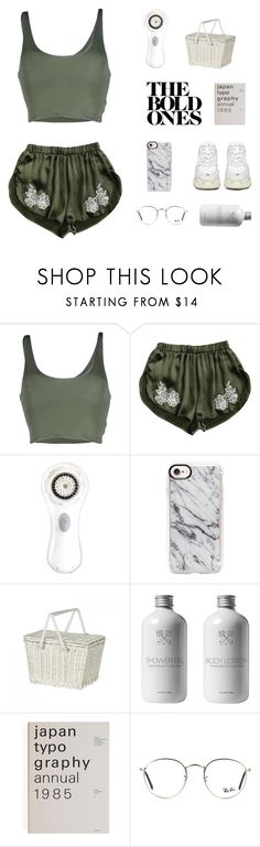"""""""i swear you're giving me a heart attack"""" by lindsay-xo ❤ liked on Polyvore featuring Roque, Clarisonic, Casetify, Olli Ella, Ray-Ban and Balenciaga"""