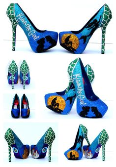 Little Mermaid or Ariel Glitter Heels with Swarovski Crystals by WickedAddiction on Etsy