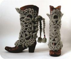 polainas de crochê para botas