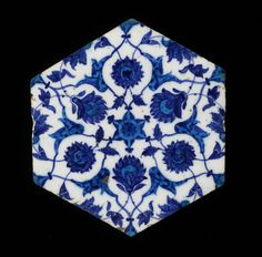 Hexagonal Wall Tile 16th century  Artist Unknown (Syrian) (Syria, Asia)  Earthenware with underglaze blue and turquoise