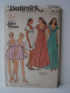 Vintage Butterick Pattern 3408 John Kloss Misses Baby Doll Gown and Robe 1970s. $12.00, via Etsy.