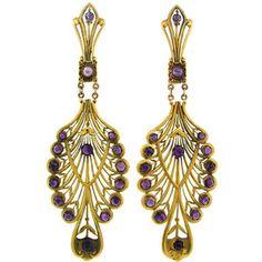 Art Nouveau Amethyst Yellow Gold Earrings