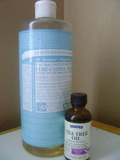 Cloth wipe solution | 2 cups water, a few squirts of baby castille soap and a few drops of tea tree oil