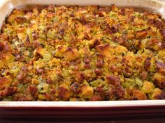 Cornbread Stuffing with Sausage - Gluten Free! The Southern Corn Bread recipe in Joy of Cooking is the cornbread that the book recommends for its cornbread stuffing. It's delicious on its own, so I knew it would probably work well in Cornbread … Cornbread Dressing With Sausage, Homemade Cornbread Dressing, Cornbread Stuffing, Stuffing With Sausage, Corn Bread Stuffing Recipes, Chorizo Recipes, Cornbread Casserole, Gluten Free Thanksgiving, Thanksgiving Recipes