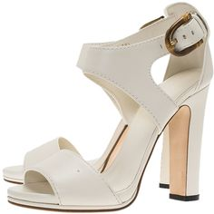 Gucci White Leather Nadege Block Heel Sandals Size 38.5 ❤ liked on Polyvore featuring shoes, sandals, gucci sandals, white leather shoes, strappy leather sandals, white block-heel sandals and white shoes