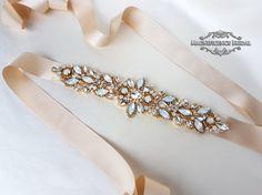 Unique Gold bridal belt, luxury bridal sash, diamante belt, opal belt, bridal belt, couture belt, hand beaded belt, wedding belt, gold bridal sash, gold wedding belt, wedding sash, gold belt, champagne belt