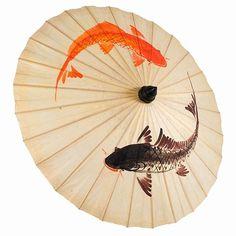 Artistic Hand Painted Koi Fish Paper Parasol Umbrella