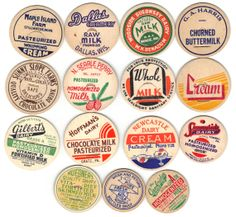 15 Old Early 1940-50's Dairy MILK BOTTLE CAPS or Tops.
