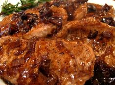 Boneless Pork Chops in a Shallot-Fig Reduction Sauce from NoblePig.com
