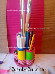 Organizar el escritorio, lápices y pinceles con tubos de cartón y globos - Inspiraciones: manualidades y reciclaje