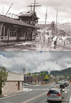 Then and Now WWII. Of the 48 civilians killed as a result of the Pearl Harbor attack, the number killed by friendly fire varies from 33 to 37, as unexploded American anti-aircraft shells landed and then exploded in residential areas. 32 of those killed were in Honolulu.    7 December, 1941. Destruction at the intersection of King and McCully streets, Honolulu.
