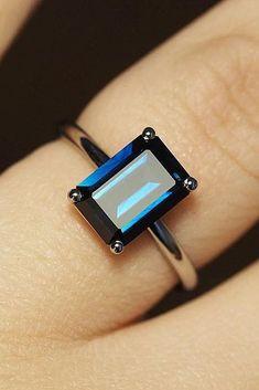 30 Vivid Sapphire Engagement Rings ❤️ sapphire engagement rings emerald cut simple solitaire ❤️ See more: http://www.weddingforward.com/sapphire-engagement-rings/ #weddingforward #wedding #bride