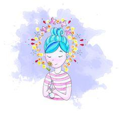 Blu Hair - watercolor