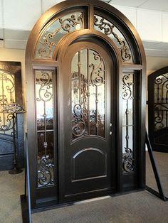 French, Iron, Craftsman and Modern door styles in any size! Door Gate Design, Main Door Design, Front Door Design, Iron Front Door, Exterior Front Doors, House Entrance, Entrance Doors, Entry Door With Sidelights, Wrought Iron Doors