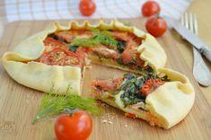 галета с лососем, шпинатом и помидорами Vegetable Pizza, Vegetables, Food, Essen, Vegetable Recipes, Meals, Yemek, Veggies, Eten