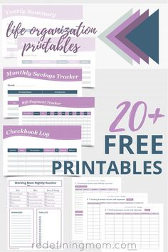 More than 20 of the best life organization printables broken down by category: budget, planning, organization, meal planning, and business printables! Organize life printables / Free life organization printables / Printables to organize your life / Free printables / Printable planning sheets via @redefinemom