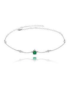 choker prata com pedra verde esmeralda semi joias para festas