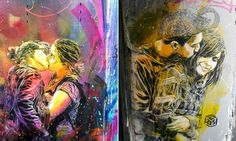 Artista de rua homenageia o amor criando série de murais com casais se beijando http://www.souzaarte.com/#!untitled/cnfd/tag/Brindes%20para%20noivas%20rj