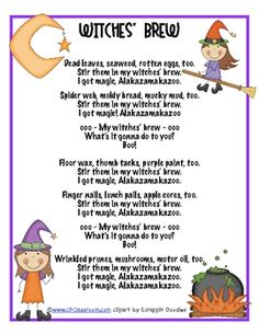 Are you familiar with Hap Palmer's Witches' Brew song? It's super-catchy. You know that play-back-in-your-head-all-day kind of catchy. Kindergarten Music, Preschool Songs, Teaching Music, Kids Songs, Silly Songs, Kindergarten Graduation, Preschool Themes, Preschool Science, Teaching Reading