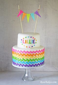 Happy St. Patrick's Day - Rainbow Chevron Cake